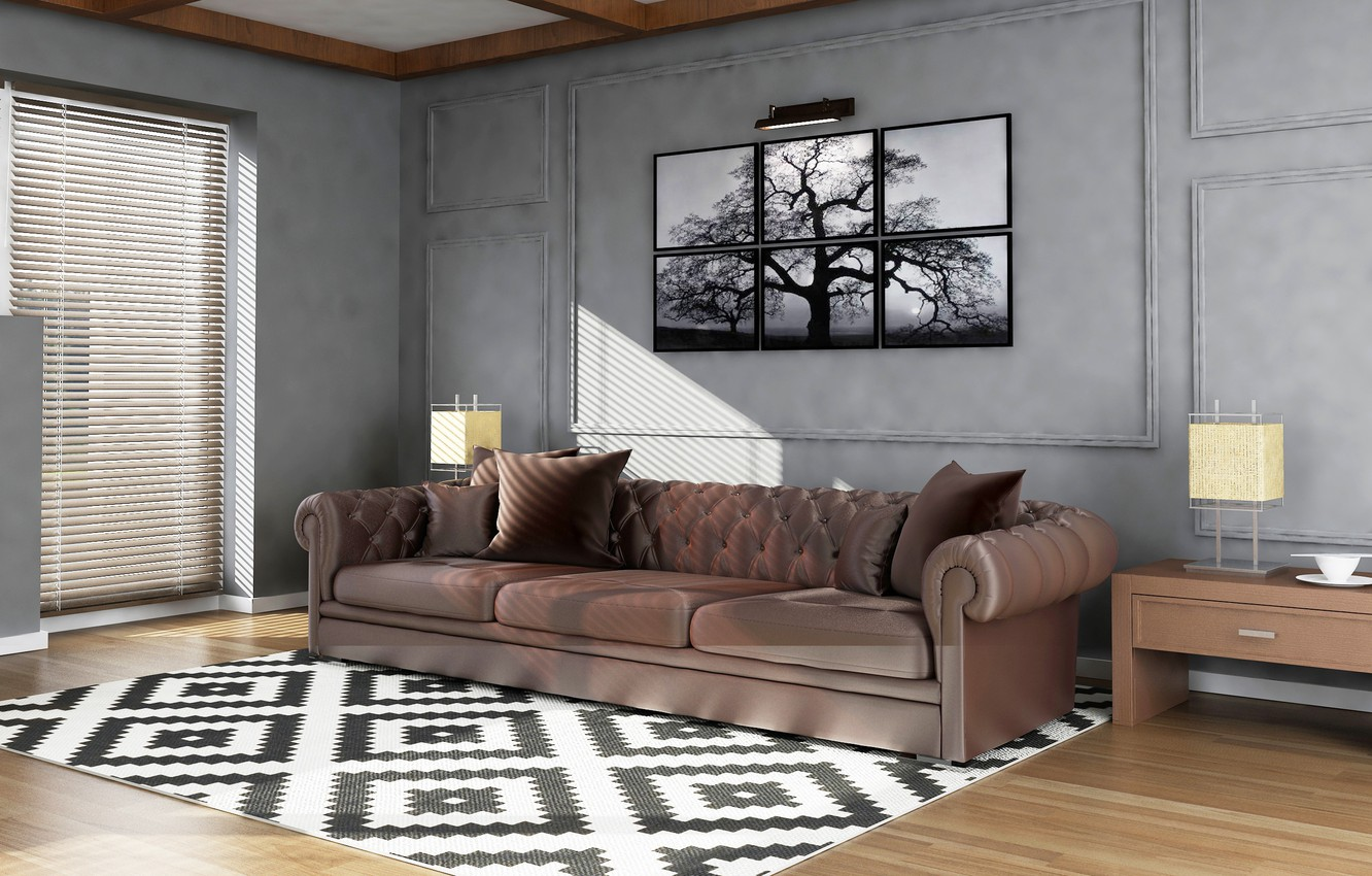 Photo wallpaper light, design, style, sofa, graphics, picture, living room