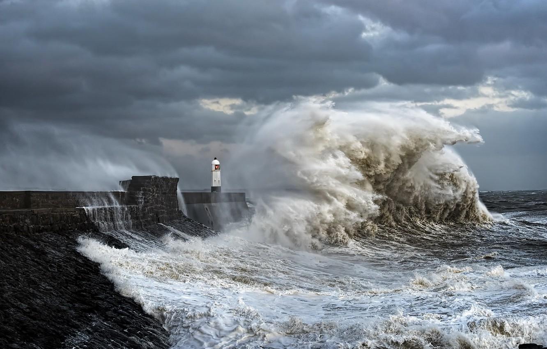 Photo wallpaper sea, wave, lighthouse