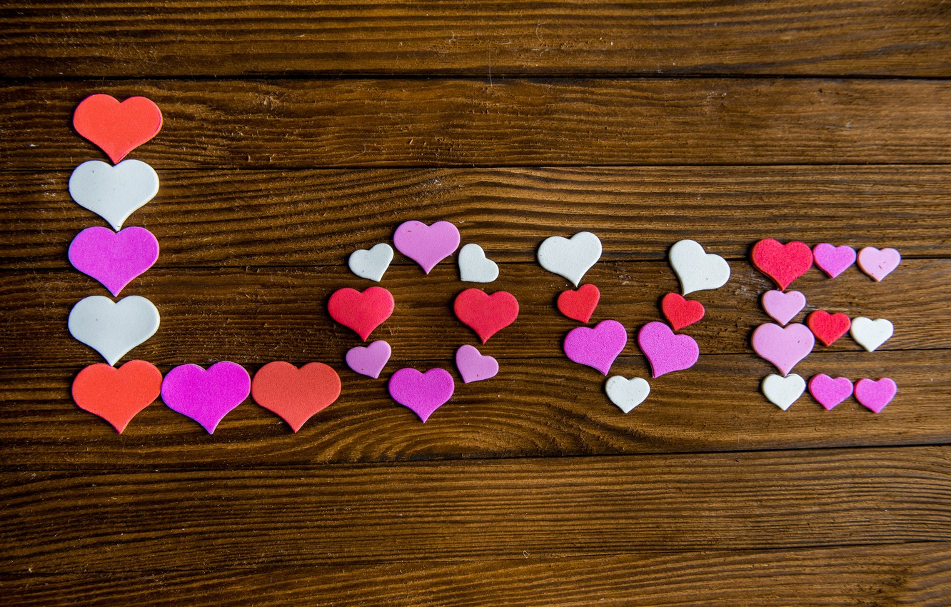Photo wallpaper hearts, love, heart, wood, romantic, sweet, valentine`s day