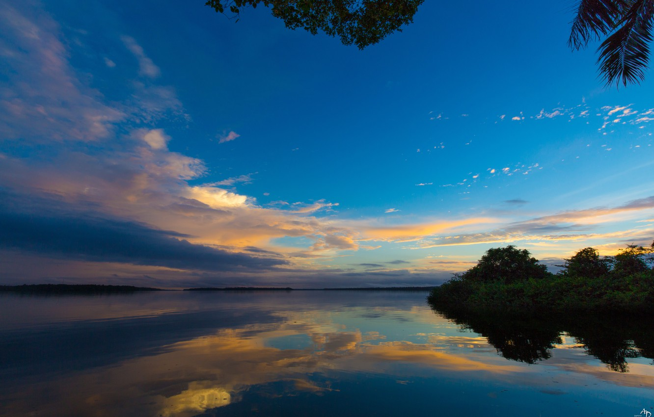 Photo wallpaper the sky, water, clouds, trees, landscape, nature, reflection