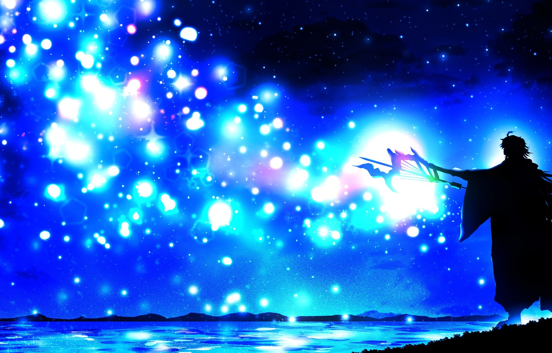 Photo wallpaper night, magic, staff, guy, by Harada Miyuki