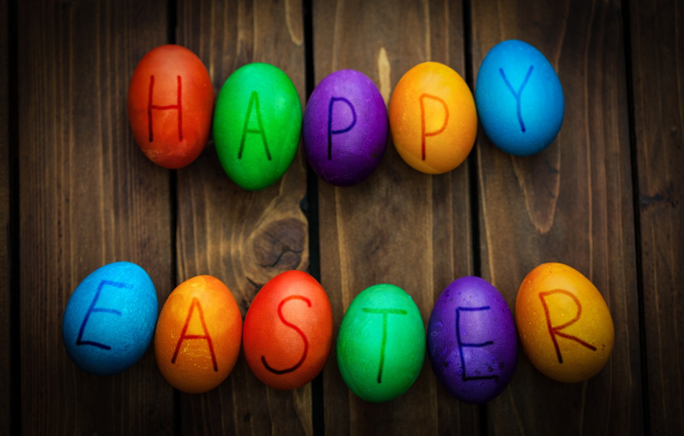 Photo wallpaper spring, colorful, Easter, wood, spring, Easter, eggs, decoration, Happy, the painted eggs