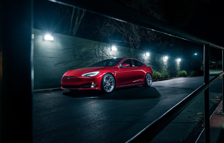 Photo wallpaper Car, Front, Tesla, Electric, Avant Garde Wheels, P100D