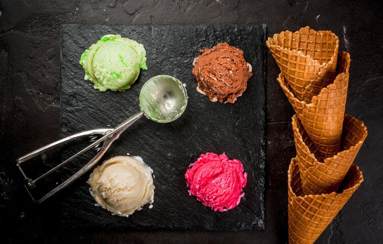 Photo wallpaper ice cream, horn, dessert, wafer, ice cream