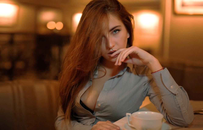 Photo wallpaper girl, bra, cleavage, Model, long hair, boobs, photo, brown, blue eyes, cup, bokeh, lips, face, …