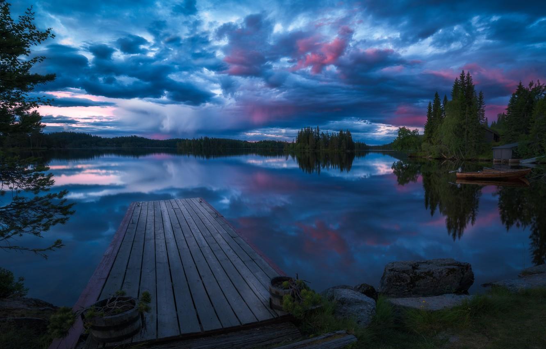 Photo wallpaper forest, trees, lake, reflection, boat, the evening, Norway, bridges, Norway, RINGERIKE, Ringerike