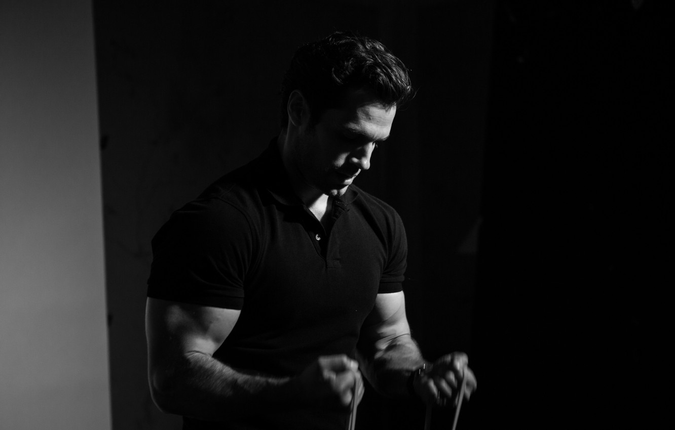 Photo wallpaper t-shirt, actor, black and white, muscles, athlete, biceps, Henry Cavill, Henry Cavill, Men's Fitness, Felix