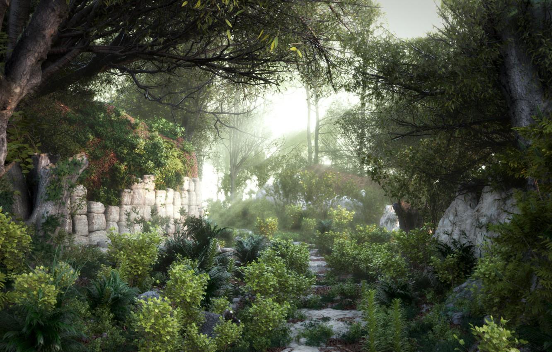 Photo wallpaper road, nature, art, stage, Camilo Veliovich, Forest Path