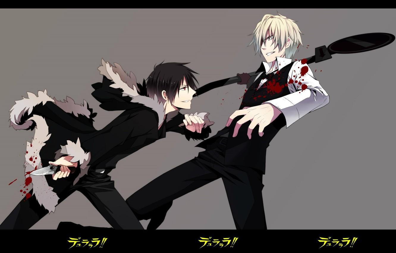 Photo wallpaper blood, spot, knife, grin, art, opponents, the fight, wounds, Durarara!, Heiwajima Shizuo, Durarara!!, The headless …