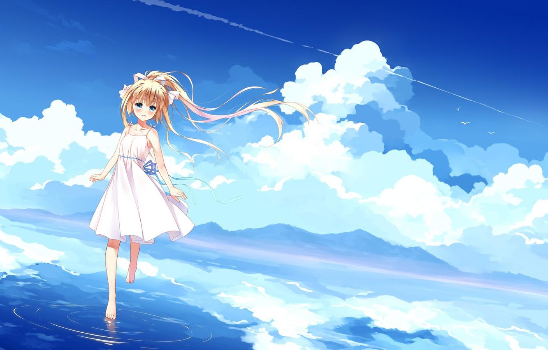 Photo wallpaper clouds, nature, anime, art, kamio misuzu, Devochka, Air