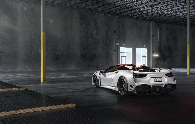 Photo wallpaper Ferrari, White, Supercar, Wide, Rear, 488, Rearl