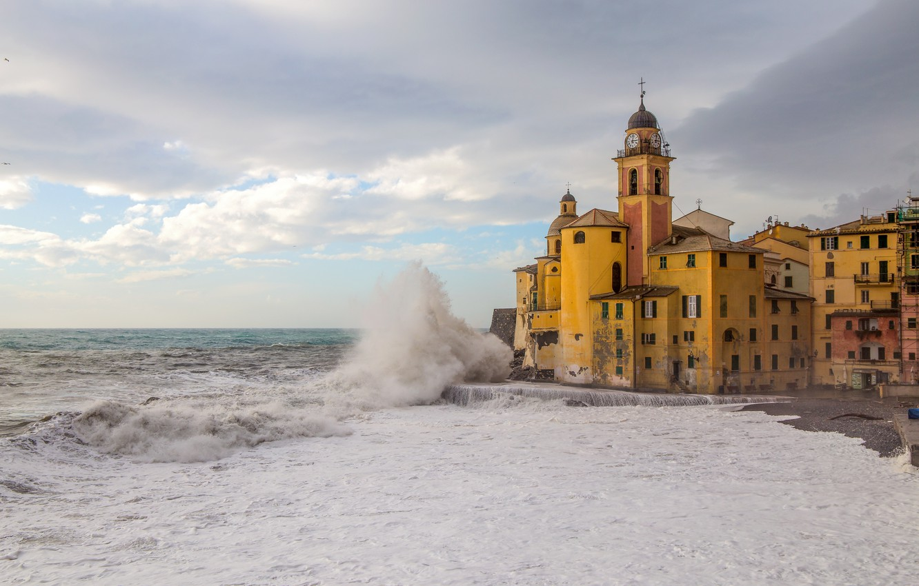 Photo wallpaper sea, wave, beach, shore, Italy, Church, Italy, travel, Camogli, Liguria, basilica