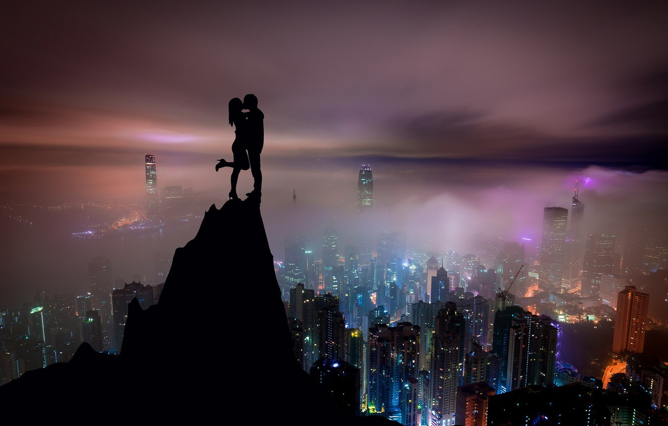Photo wallpaper the sky, girl, night, the city, view, kiss, skyscrapers, guy, lovers