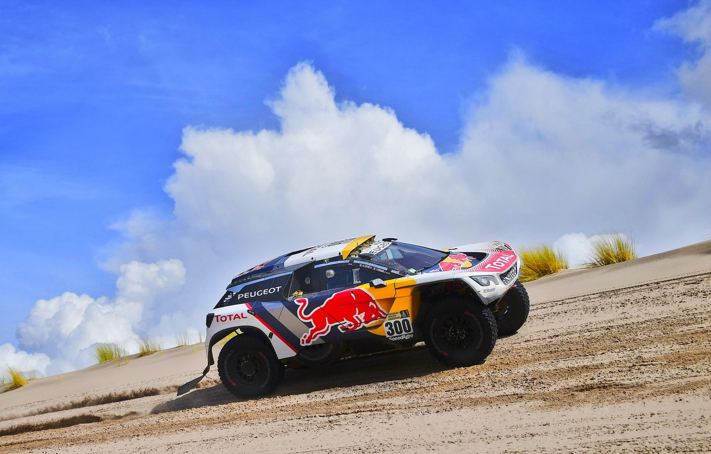 Photo wallpaper The sky, Sand, Sport, Speed, Race, Peugeot, Lights, Red Bull, 300, Rally, Dakar, Dakar, Rally, …