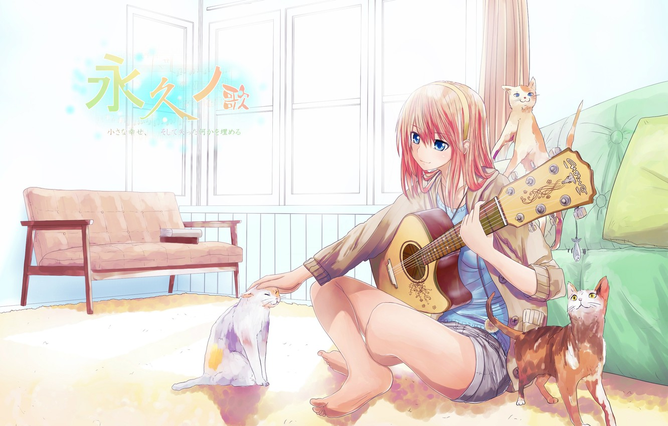 Photo wallpaper cats, room, sofa, shorts, guitar, window, characters, vocaloid, sitting on the floor, pink hair, Megurine …