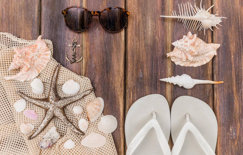 Photo wallpaper sea, background, stay, star, glasses, shell, slates, anchor