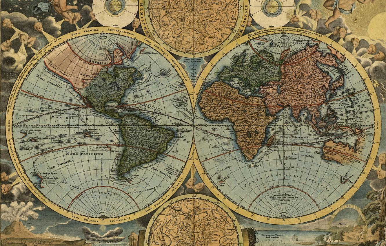 Photo wallpaper travel, world map, geography, 1716, Johann Baptist Homann