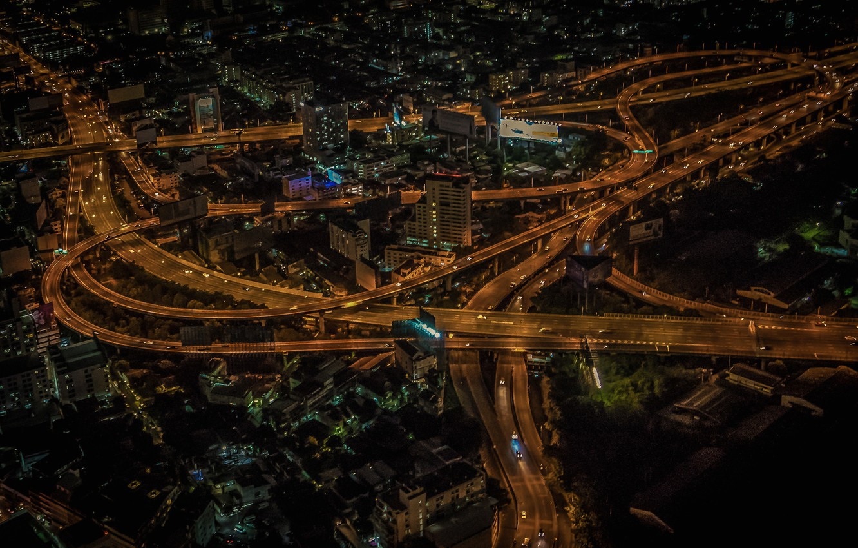 Photo wallpaper night, lights, panorama, Thailand, Bangkok