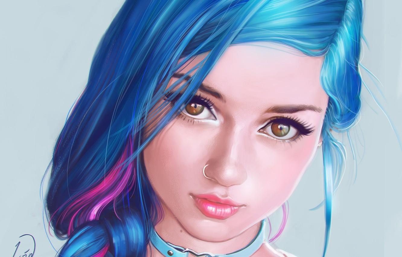 Photo wallpaper look, girl, portrait, makeup, piercing, art, blue hair