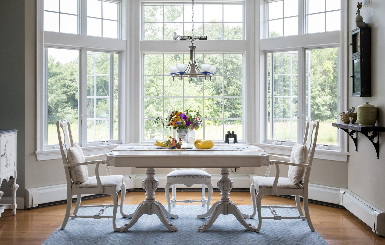 Photo wallpaper design, style, table, furniture, chairs, window, dining room