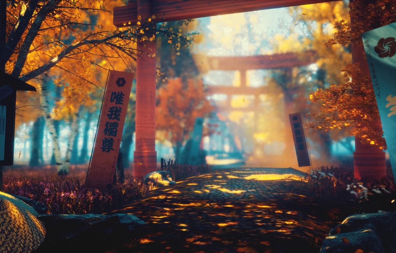 Photo wallpaper autumn, nature, sword, art, torii