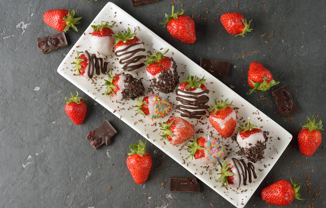 Photo wallpaper berries, dessert, chocolate, dessert, chocolate-covered strawberries