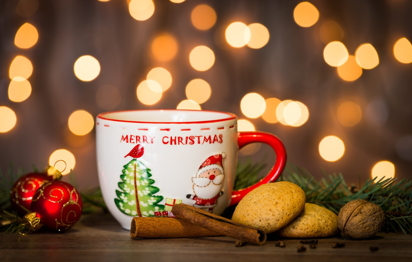 Photo wallpaper decoration, New Year, cookies, Christmas, Cup, Christmas, cup, Merry Christmas, Xmas, cookies, decoration, holiday celebration