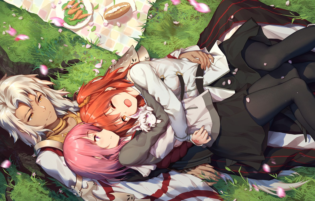 Photo wallpaper girls, art, guy, picnic, Fate / Grand Order, The destiny of a great campaign