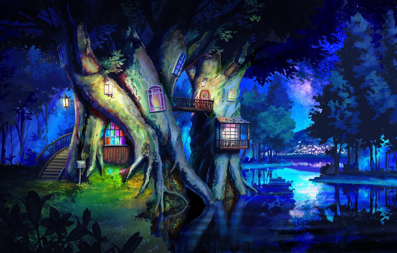 Photo wallpaper landscape, house, tree, Landscape