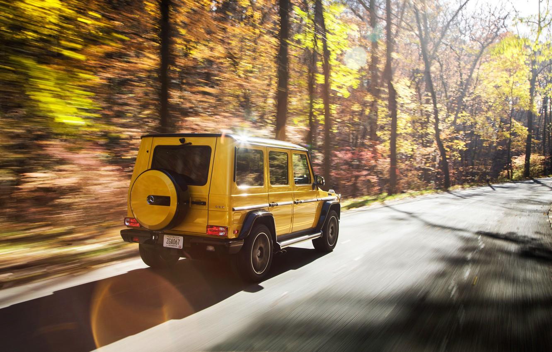 Photo wallpaper autumn, Mercedes-Benz, speed, rear view, AMG, G-Class, Gelandewagen, G 63, G-wagen, Colour Edition