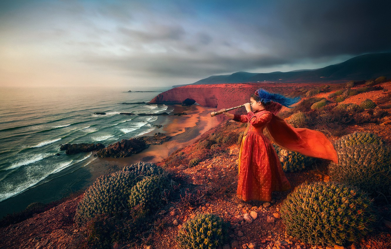 Photo wallpaper sea, rocks, girl, cacti, waiting, spyglass