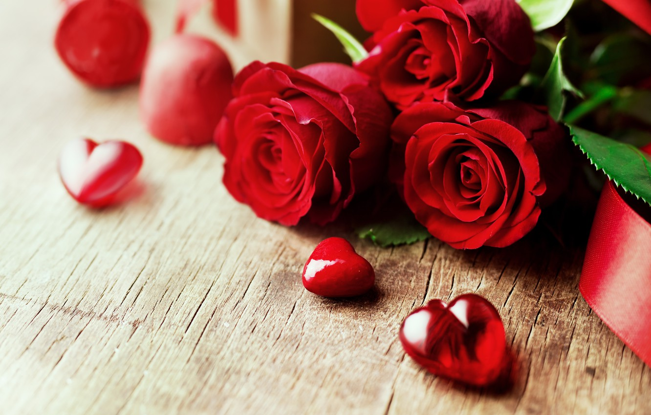 Photo wallpaper love, flowers, roses, bouquet, hearts, red, red, love, wood, flowers, romantic, hearts, Valentine's Day, gift, …