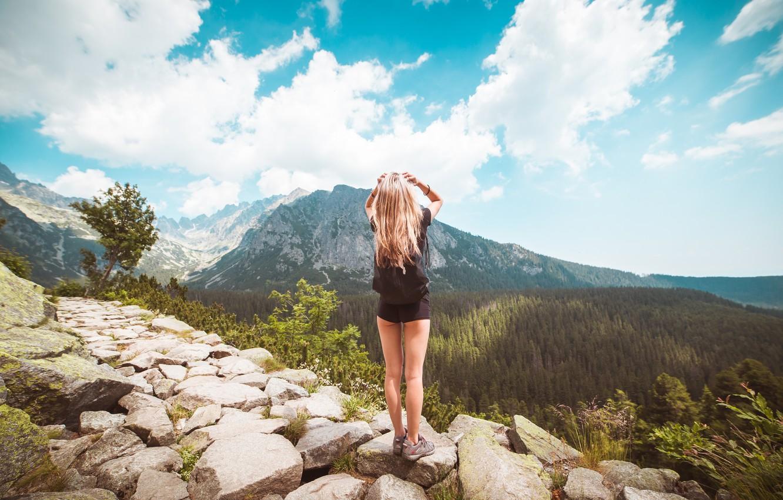 Photo wallpaper girl, landscape, shorts, mountain, blonde