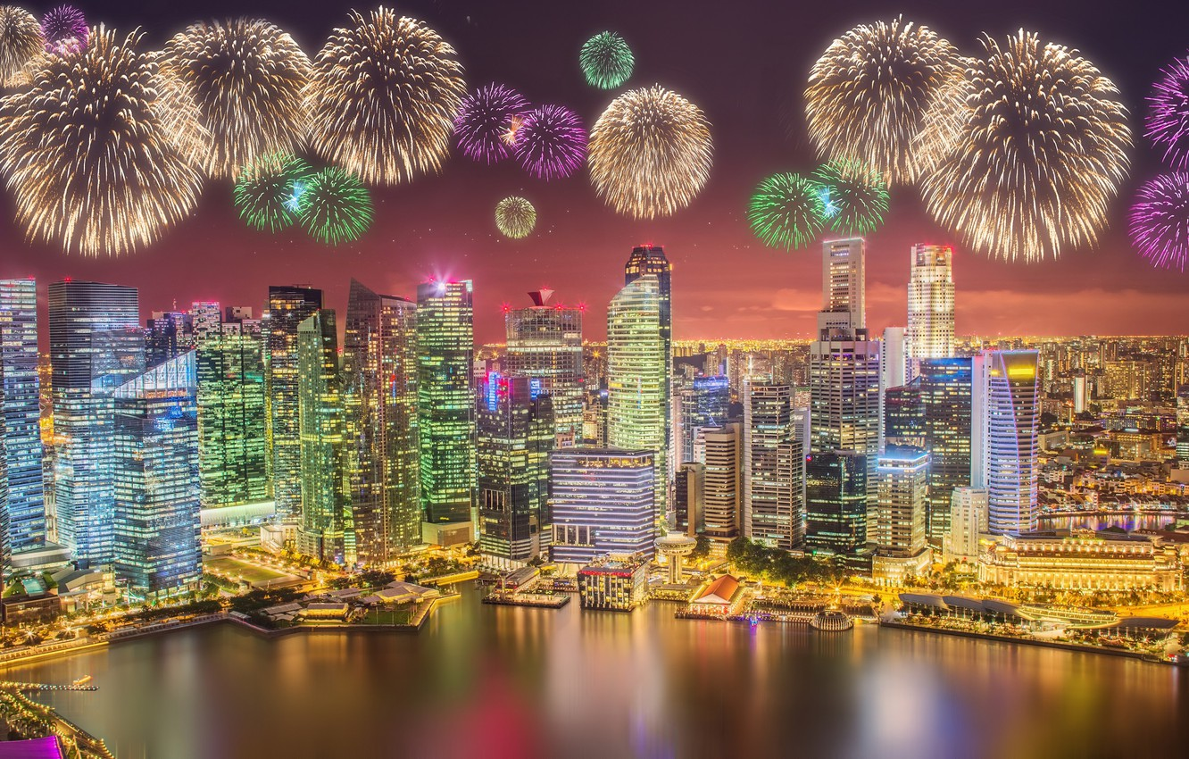 Photo wallpaper sea, landscape, lights, lights, skyscrapers, salute, Singapore, architecture, megapolis, blue, night, fountains