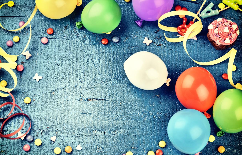 Photo wallpaper decoration, balloons, candy, sweets, Happy Birthday, decoration, Birthday, holiday celebration