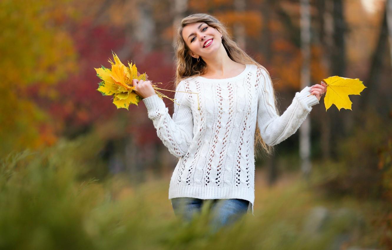 Photo wallpaper autumn, leaves, girl, bokeh