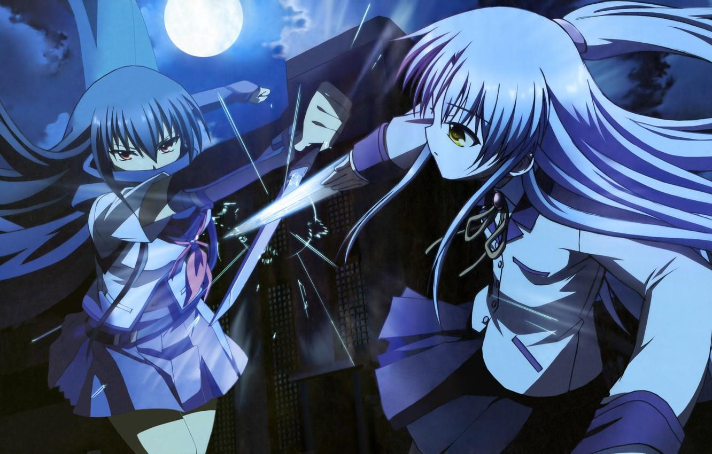Photo wallpaper night, blade, fight, blow, dagger, Schoolgirls, the full moon, art, the fight, Kanade Tachibana, Shiina, …
