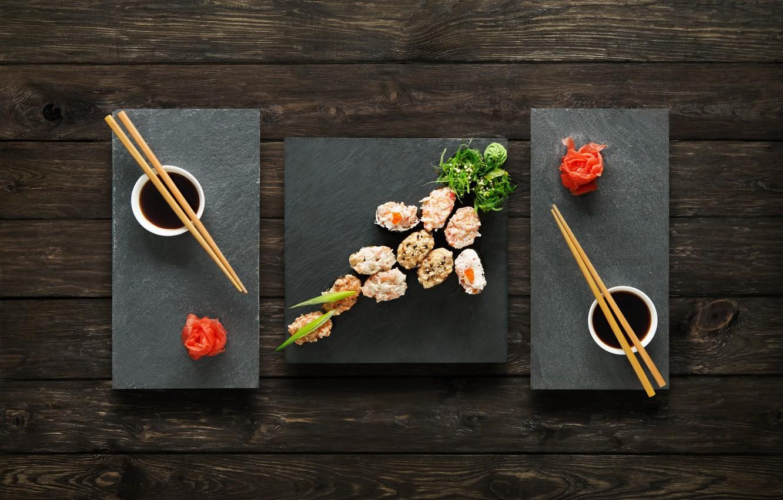 Photo wallpaper sticks, sauce, sushi, sushi, rolls, ginger, set, wasabi, japanese food