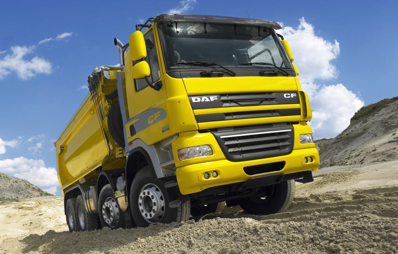 Photo wallpaper sand, the sky, clouds, yellow, tent, DAF, DAF, quarry, dump truck, platform, EEV, 8x4, DAF …
