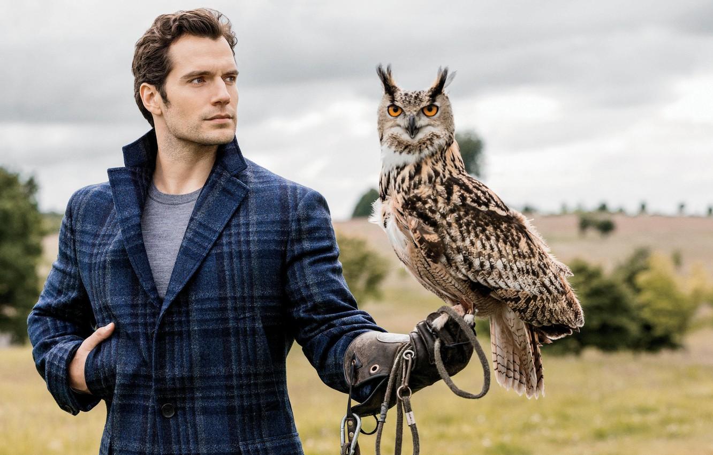 Photo wallpaper owl, owl, Henry Cavill, Henry Cavill, English actor