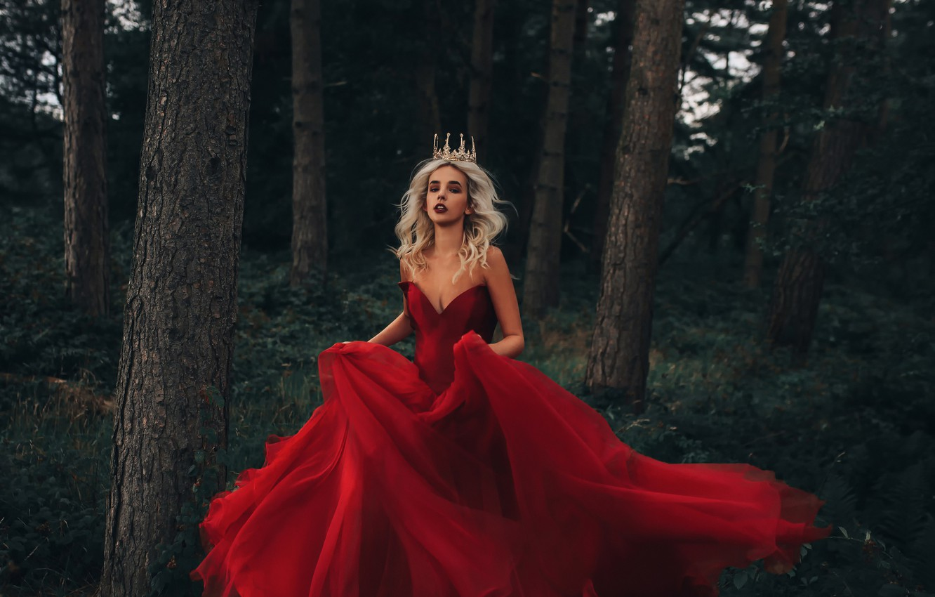 Photo wallpaper forest, girl, crown, dress, in red, Fairy Tale, Bird Man
