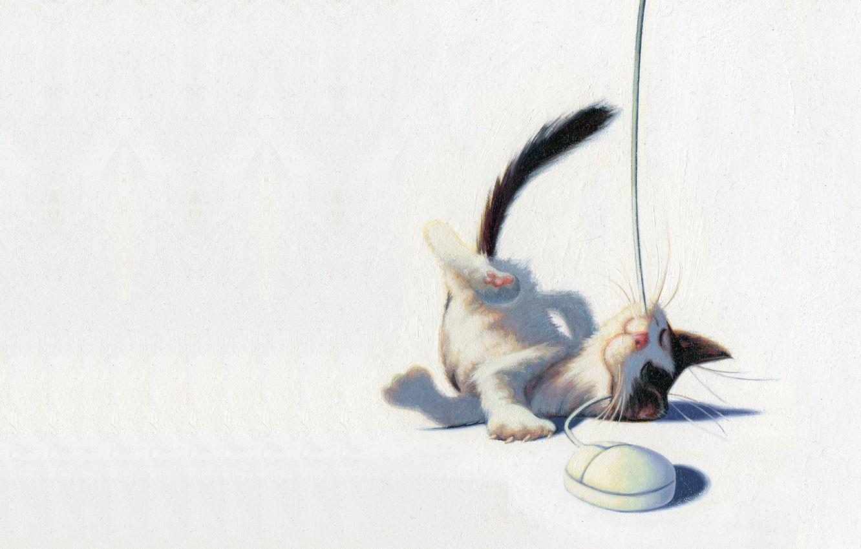 Photo wallpaper cat, mood, the game, mouse, art, kitty, children's, James Bennett