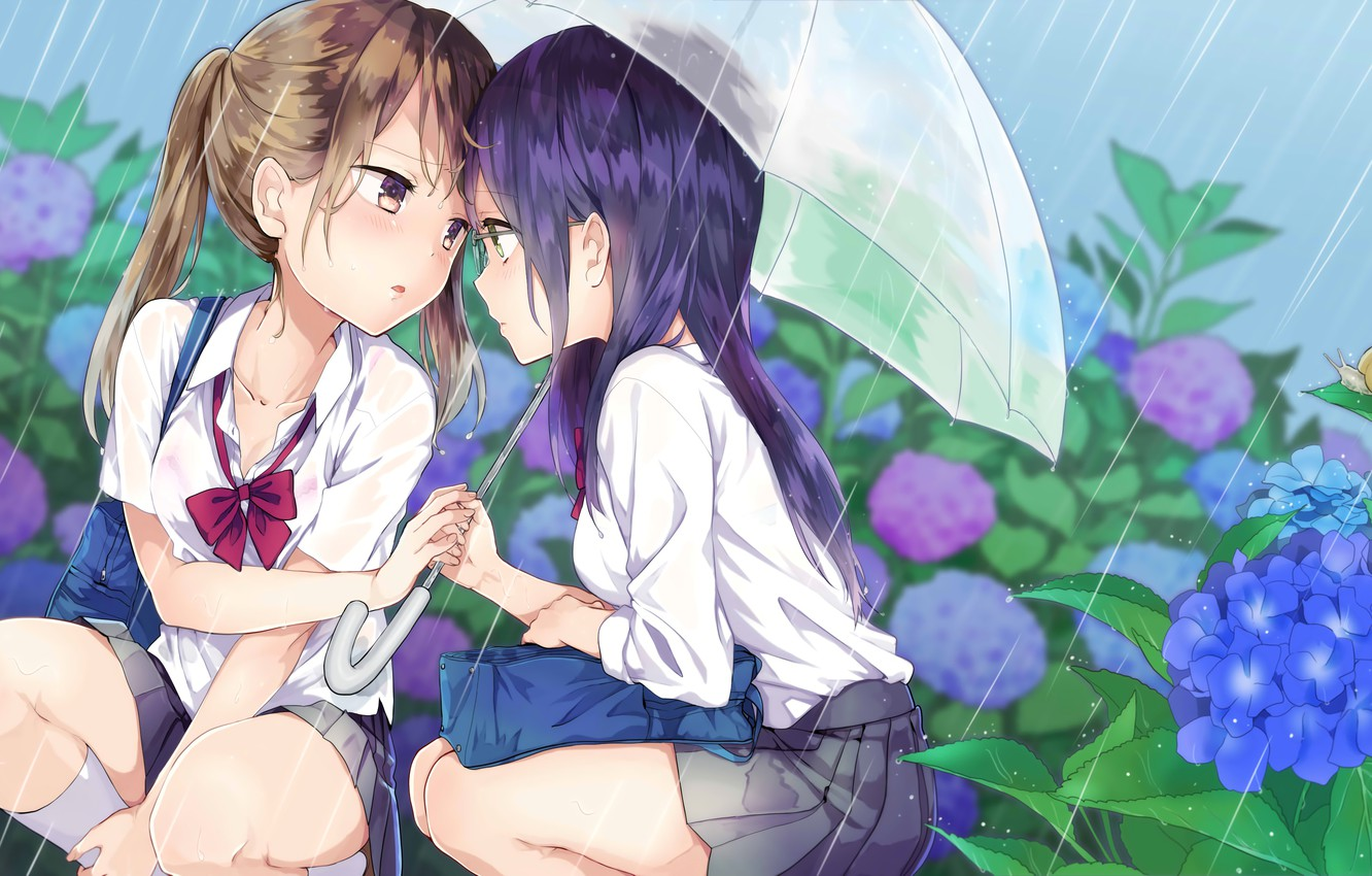 Photo wallpaper flowers, umbrella, girls, rain, glasses, blush, anime, art