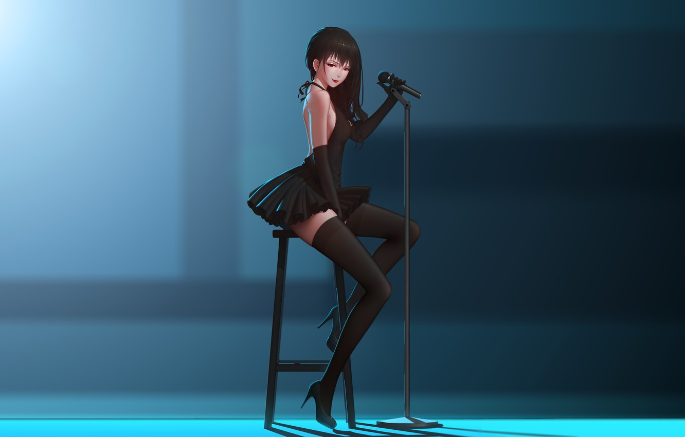 Photo wallpaper girl, pose, stockings, anime, art, chair, microphone, maredoro