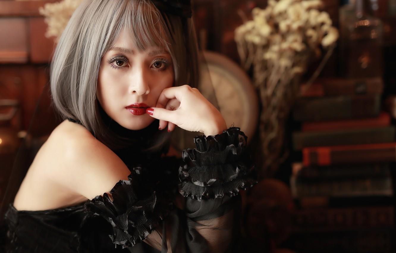 Photo wallpaper girl, face, makeup