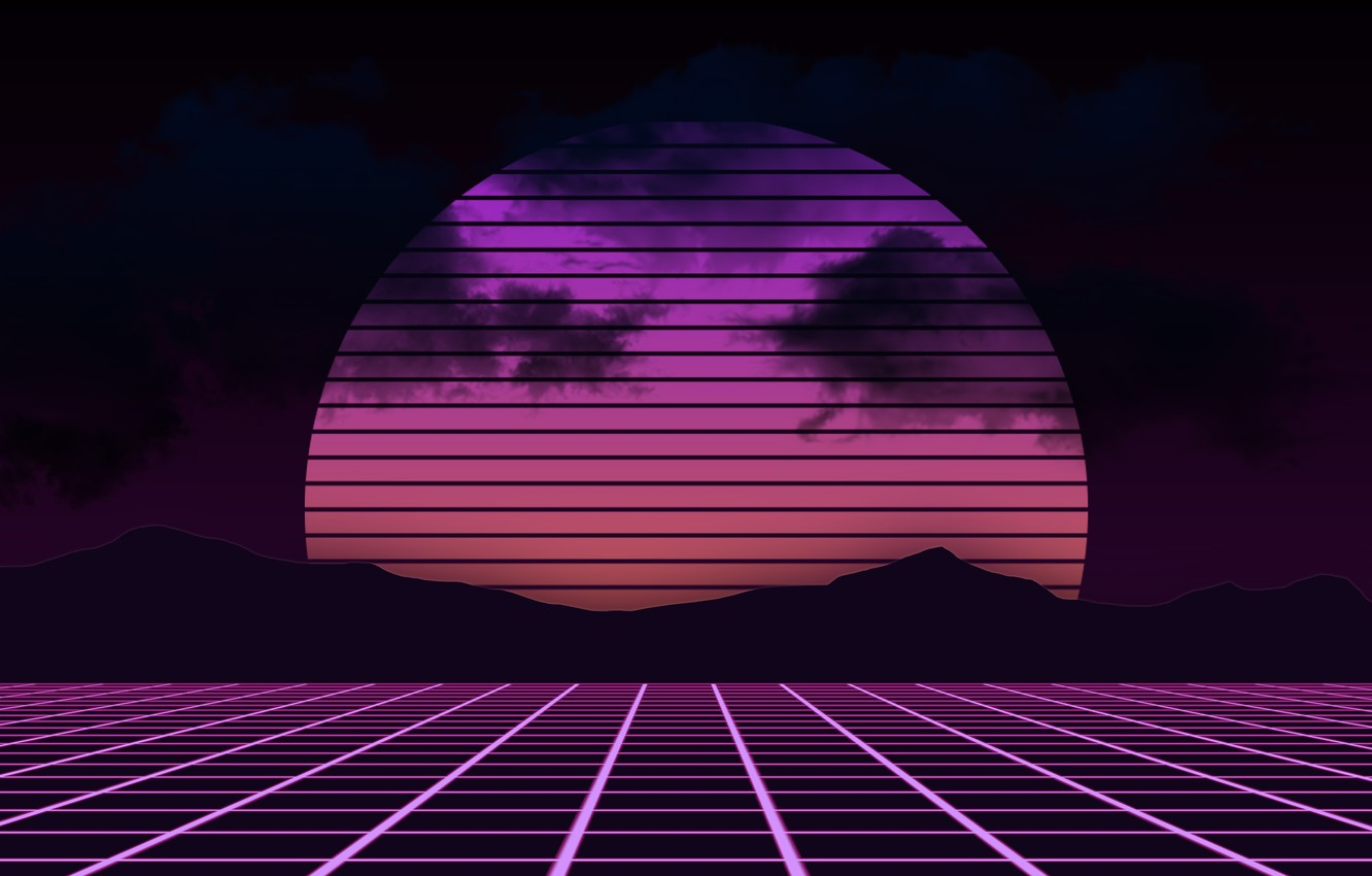 Photo wallpaper The sun, Mountains, Music, Background, Electronic, Synthpop, Darkwave, Synth, Retrowave, Synth-pop, Sinti, Synthwave, Synth pop