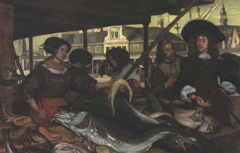 Photo wallpaper fish, market, intestine, Emanuel de Witte, in Amsterdam, 1655, The New Fishmarket