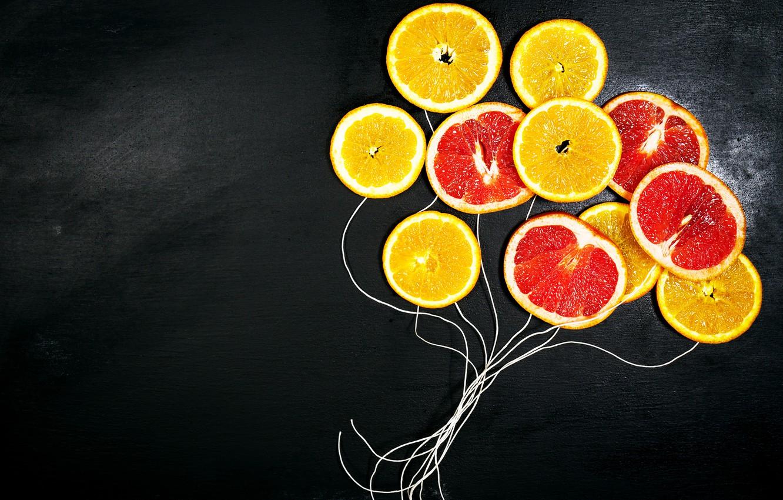 Photo wallpaper oranges, fruit, black background, grapefruit