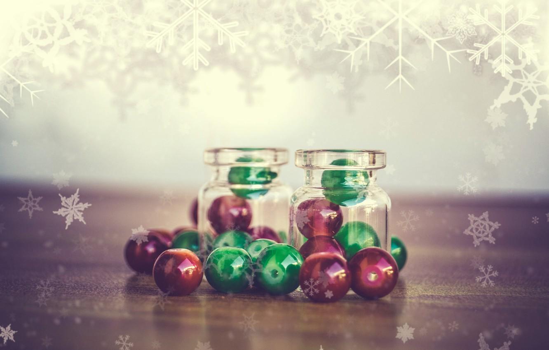 Photo wallpaper macro, snowflakes, bubbles, beads, bottle