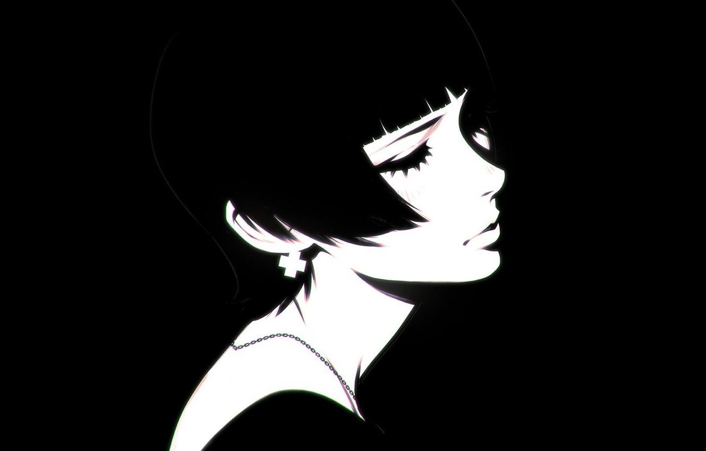 Photo wallpaper eyelashes, haircut, black and white, neck, bangs, closed eyes, portrait of a girl, Ilya Kuvshinov, …